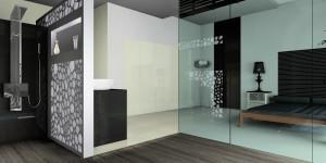 Sypialnia z dużą otwartą łazienką z przeszkolnymi elementami.