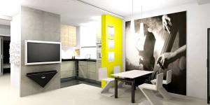 Nowoczesne nieduże mieszkanie, w nowym budownictwie przeznaczone dla dwóch młodych, dynamicznych osób.