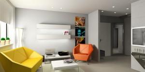 Kilka elementów kolorystycznych ożywia i buduje dynamikę w prostym, jasnym wnętrzu.