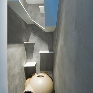Dwa sympatyczne czworonogi otrzymały w prezencie od architektów niewielką przestrzeń, wygospodarowaną tylko dla nich. Wyposażone w liczne platformy ściany to nie lada frajda dla kota! Projekt: Millimeter Interior Design. Fot. Millimeter Interior Design.