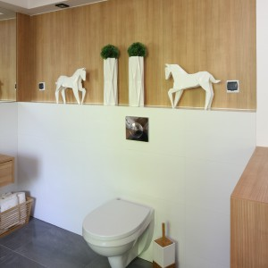 Na tle drewnopodobnych płaszczyzn świetnie prezentują się białe ceramiczne dodatki oraz rośliny. Projekt: Małgorzata Błaszczak. Fot. Bartosz Jarosz.
