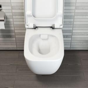 Shift – bezrantowe rozwiązanie Rim-ex ułatwia czyszczenie toalety, zapobiega rozwojowi bakterii, technologia VitraFlush zapewnia precyzyjną dystrybucję wody podczas  spłukiwania. Prod. Vitra; dystr. Aqua Idealna Łazienka. Cena: 1.488 zł (z deską  wolno opadającą). Fot. VitrA.