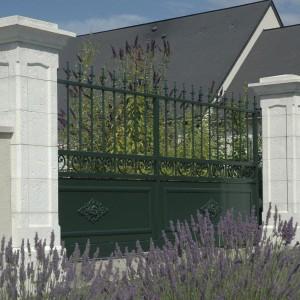 Masywne, kamienne filary podtrzymujące bramę o klasycznych kształtach to doskonale rozwiązanie, które dobrze sprawdzi się w sąsiedztwie bardziej tradycyjnego budownictwa. Fot. Weser.