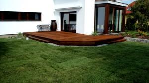 Proste i skośne linie trawnika stanowią o charakterze ogrodu, natomiast rośliny stanowią uzupełnienie istniejących brzóz, które królują w tym ogrodzie.