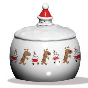 Okrągłe, porcelanowe pudełko na słodycze ozdobione ręcznie malowanymi rysunkami przedstawiającymi świętego Mikołaja i wesołego renifera. Pokrywka ma rączkę w kształcie głowy Mikołaja, a cała jest jego pofalowaną brodą.285 zł, A di Alessi/Fide.pl.