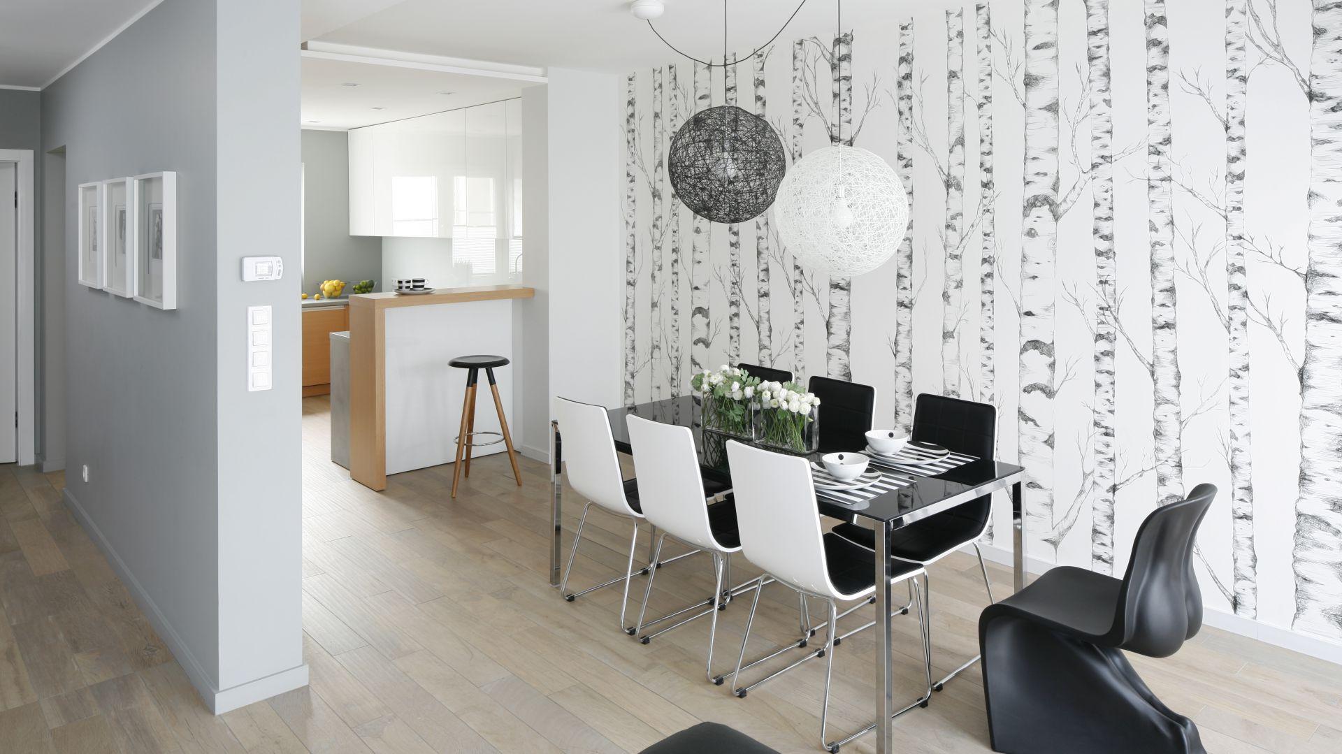 Jadalnia w kolorach czerni i bieli. Stół jadalniany z czarnym, połyskującym blatem i czarno-białe krzesła komponują się z motywem brzóz na ścianie i oświetleniem. Biel koresponduje z meblami kuchennymi, czerń pasuje do wyłaniających się spoza kadru mebli wypoczynkowych w salonie. Projekt: Beata Kruszyńska. Fot. Bartosz Jarosz.