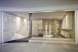 Funkcjonalność przestrzeni butiku obejmuje: strefę wejściową, ladę sklepową z kasą, strefę ekspozycyjną, strefę poczekalni, przy której znajdują  się przymierzalnie i część magazynowa.