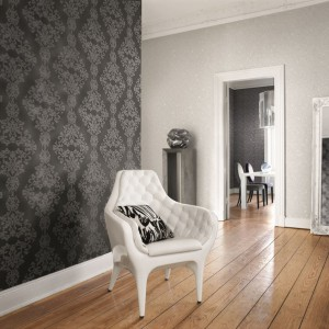 Tapeta z serii Diamond Dust niemieckiej marki Rash nada szykowny wygląd każdemu eleganckiemu wnętrzu. Rash.