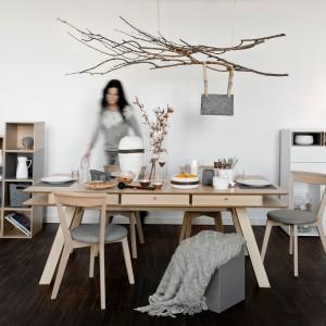 Inspirowana naturą kolekcja mebli z oferty marki Vox łączy biel oraz jasne drewno z tak modnymi w tym sezonie szarościami. Fot. Meble Vox.