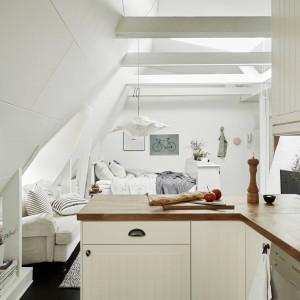 Kuchnię od salonu i, urządzonej w dalszym rzędzie, sypialni oddziela symbolicznie niewielki półwysep. Po jego wewnętrznej stronie zamontowano pojemną szafkę, w której można schować podręczne sprzęty. Fot. Stadshem.