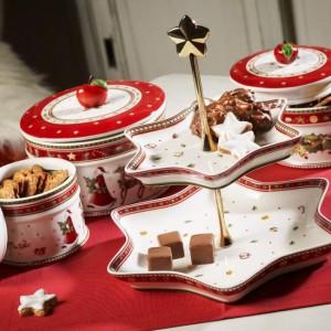 Dekoracyjne pojemniki z kolekcji Winter Bakery Delight. Porcelanowe pudełka nadają się do mycia w zmywarce oraz używania w kuchence mikrofalowej. Fot. Villeroy&Boch.