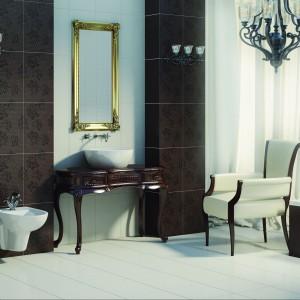Baricello marki Opoczno to płytki do łazienki w stylu retro. Wzór oraz pikowania nawiązują do buduarów eleganckich dam. Fot. Opoczno.