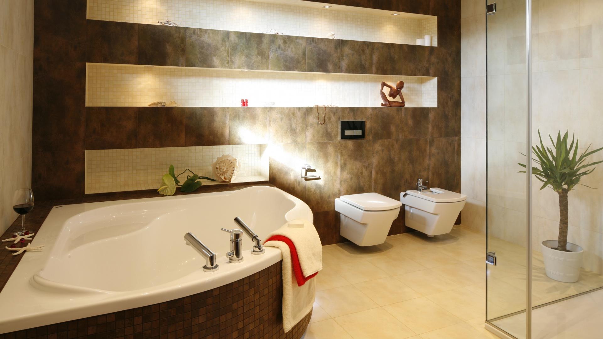 Beżowa łazienka Wybierz Płytki Albo Kamień