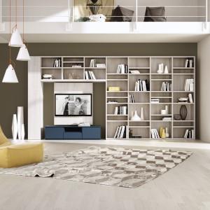 W zagospodarowaniu domowej biblioteczki pomocna może okazać się meblościanka telewizyjna. W odpowiednich modelach znajduje się miejsce nie tylko na sprzęt RTV, ale i na zbiór książek. Fot. Giessegi.