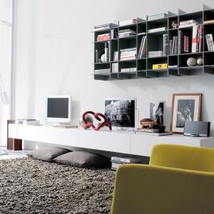 Niewielki księgozbiór z powodzeniem pomieścimy na szafce wiszącej. Takie rozwiązanie sprawdzi się zwłaszcza w nowoczesnych wnętrzach. Fot. Mood Design.