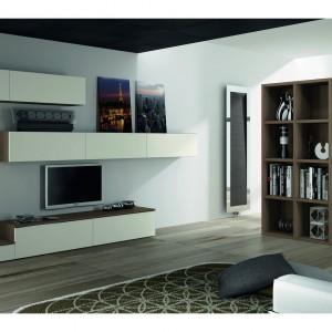 Regał z książkami można wykorzystać jako ścianę działową, wyznaczającą granicę między salonem a innym pomieszczeniem. Fot. Dielle.