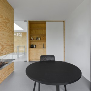 """Funkcję ścianki działowej pomiędzy przestrzenią jadalni a salonu pełni kominek w efektownej obudowie z paneli z sosnowego drewna. W ścianie """"chowa się"""" szafka z praktycznymi półkami. Projekt: i29 interior architects. Fot. i29 interior architects."""