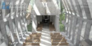 Projekt koncepcyjny wnętrza kościoła w Żarkach Letnisku.