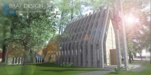 Projekt koncepcyjny rozbudowy kościoła w Żarkach Letnisku.