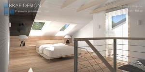 Sypialnia na poddaszu połączona z bezpośrednim wyjściem na prywatne patio.
