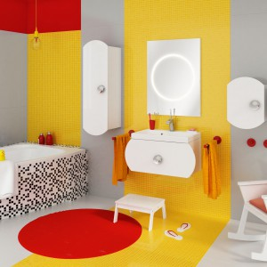 Meble Intorno marki Defra sprawdzą się także w łazience dla dzieci. Uwagę zwraca charakterystyczny zaokrąglony kształt frontów i stylowe uchwyty. Fot. Defra.