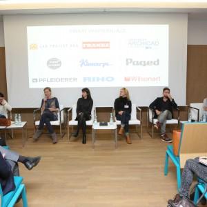"""W dyskusji  pod hasłem """"Design a przeszłość"""" udział wzięli: Krystyna Łuczak-Surówka (moderator debaty), Lubomira Trojan, Magdalena Chojnacka, Katarzyna Herman-Janiec, Łukasz Pastuszka i Jakub Majewski."""