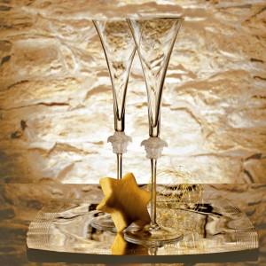Kieliszki do szampana z Linii Versace Medusa Lumiere zostały ozdobione znakiem rozpoznawczym marki - głową meduzy. Coś dla miłośników wytwornego wzornictwa. Fot. Rosenthal.