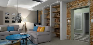 Kominek typu koza daje nie tylko ciepło, ale i klimat a duża biblioteka pozwoliła rozbić optycznie długą ścianę z odsłoniętą cegłą.