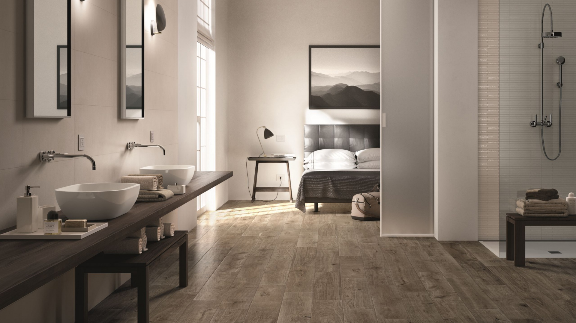 Płytki z kolekcji Treverker Marazzi polecane są na podłogi. Świetnie sprawdzą się we wnętrzach w stylu skandynawskim, czy otwartych przestrzeniach typu loft. Do złudzenie przypominają drewno. Fot. Marazzi.