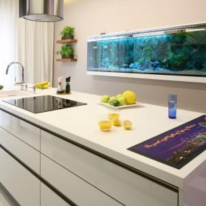 W tej kuchni centrum pomieszczenia jest biała wyspa z gładkimi frontami na połysk. Interesującym elementem dekoracyjnym jest akwarium, zawieszone na ścianie. Morski błękit pięknie komponuje się ze śnieżnobiałą bielą. Projekt: Chantal Springer. Fot. Bartosz Jarosz.