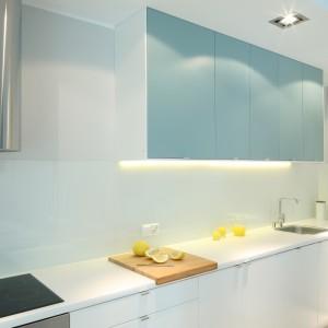 Górne szafki kuchenne o barwie przydymionego błękitu nadają wnętrzu wyrazu. Współgrają też ze stalowymi elementami wyposażenia podkreślając nowoczesny styl wnętrza. Projekt: Anna Maria Sokołowska. Fot. Bartosz Jarosz.