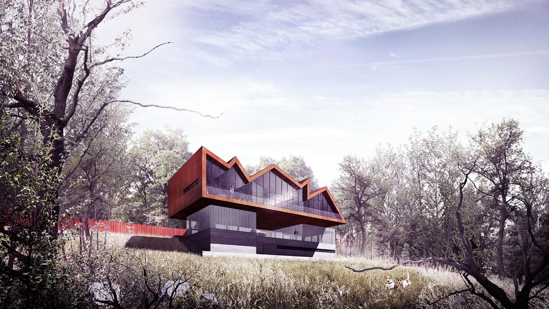 Zewnętrzna surowa faktura betonu z odciśniętymi słojami drewna stanowi formę podstawy domu osadzonej w stromym zboczu działki. Fot. BXBstudio Bogusław Barnaś