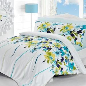 Pościel wykonana z satyny bawełnianej. Świeża, modna kolorystyka sprawia, że ten komplet doskonale sprawdzi się w każdej sypialni. Fot. Dekoria.
