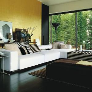 Kanapa narożna Andy marki B&B Italia urzeka designerskim połączeniem dwóch rodzajów tapicerek: jednolitej oraz w czarno-białe paski. Dekoracyjności dodają sofie pasiaste poduszki. Fot. B&B Italia.