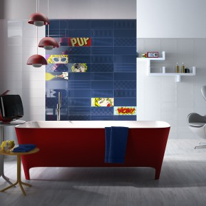 """Kolekcja Pop firmy Imola Ceramica to prawdziwy hołd złożony stylowi pop-art. Żywe kolory i """"komiksowe"""" dekory to kwintesencja tego stylu utrwalona na płytkach. Fot. Imola Ceramica."""
