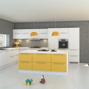 Wyspa kuchenna, której fronty wykończono w energetyzującym żółtym kolorze, zamkniętym w ramy bieli, która pokrywa korpus i blat mebla. Fot. Nettoline, kuchnia Paris.