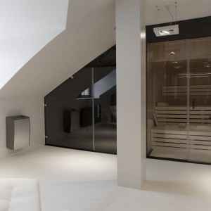 Na poddaszu znalazła się obszerna łazienka pani i pana domu. Obok czarnej, efektownej strefy prysznica urządzono domową saunę. Projekt: Marta Pala-Szczerbak. Fot. Piotr Lipiecki.