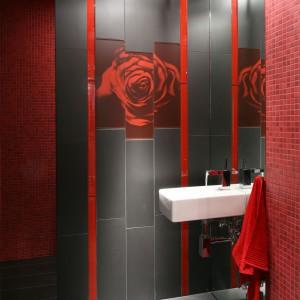 Przy domowym kinie zaprojektowano także niewielką łazienkę. Podobnie, jak w większości wnętrz, wykorzystano w niej także motywy kwiatowe. Projekt: Małgorzata Szajbel-Żukowska, Maria Żychniewicz. Fot. Bartosz Jarosz.