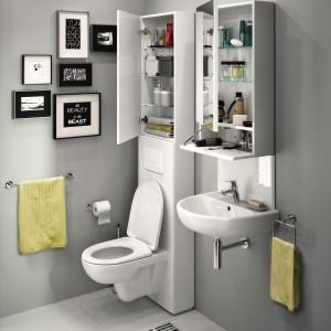 Meble z kolekcji Nova Pro firmy Koło zostały zaprojektowane z myślą o małej łazience i przechowywaniu licznych drobiazgów i akcesoriów łazienkowych. Fot. Koło.