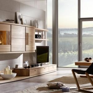 Strefa telewizyjna po skandynawsku. Telewizor umieszczono na meblościance wykonanej z jasnego drewna. Aranżację dopełnia designerski, minimalistyczny fotel. Fot. Voglauer.