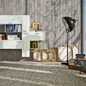 Minimalistyczna meblościanka z białymi frontami marki Colombini Casa. Uroku dodają kolorowe segmenty. Fot. Colombini Casa.