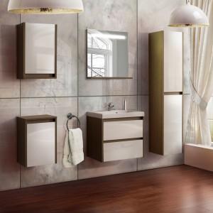 Bezuchwtowe meble z kolekcji Alan firmy Astor efektownie łączą styl klasyczny w formie drewnopodobnych korpusów z nowoczesną, geometryczną formą. Fot. Astor.