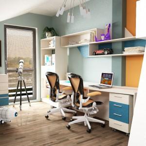 Jeśli w pokoju rodzeństwa nie mamy miejsca na dwa osobne biurka, możemy wykorzystać jedno, specjalnie dostosowane do jednoczesnego użytkowania przez dwójkę dzieci. Fot. Furni Kidz.