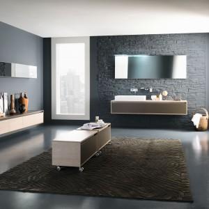 Perfetto marki Inda to propozycja w ciepłych kolorach. Meble o prostej geometrycznej formie w loftowym wydaniu. Fot. Inda.