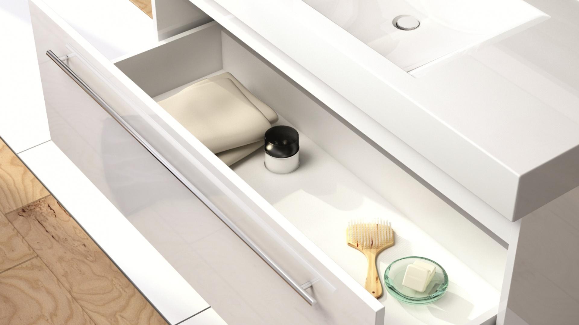Szafka podumywalkowa Aquaform Decora z szeroką szufladą, dostępna w szerokościach 70, 90 i 120 cm, cena od 613 zł brutto. Fot. Archiwum