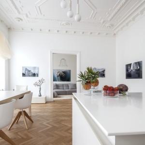 Sufit zdobią dekoracyjne sztukaterie i rozety, tworząc efektowny kontrast stylistyczny z nowoczesnymi meblami. Projekt: destilat Design Studio. Fot. Monika Nguyen.