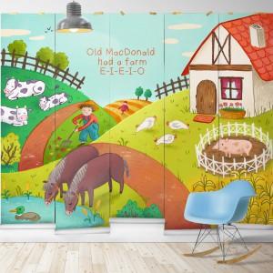 Old MacDonald to nazwa tapety przedstawiającej animowaną, sielską farmę. Nazwa tapety zdradza, jaka piosenka była inspiracją do stworzenia tej dekoracji. Fot. Milton&King.