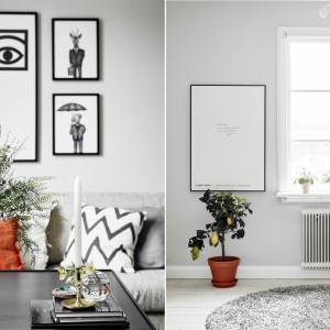 Elegancki charakter wnętrzu nadają piękne dodatki: czarno-białe grafiki, oprawione w czarne ramy, harmonizujące z nimi poduszki czy piękny, szklany wazon. Fot. Stadshem/Jonas Bergman.