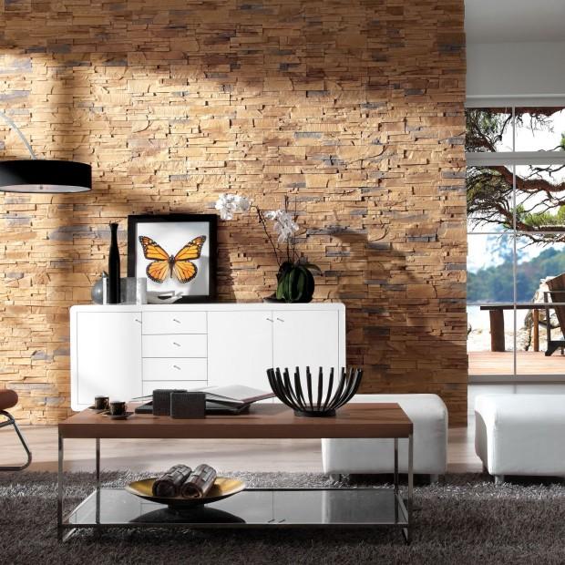 Ściana w salonie: modny kamień dekoracyjny