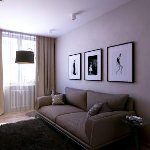 Pokój gościnny zaplanowano w prostym, komfortowym wykonaniu. Miękka sofa, przytulny dywan i komoda z TV zapewnią wypoczynek odwiedzającym gościom. Projekt: Studio projektowe Geometrium.